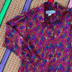 Vintage Silky Psychedelic Disco Blouse Button Up